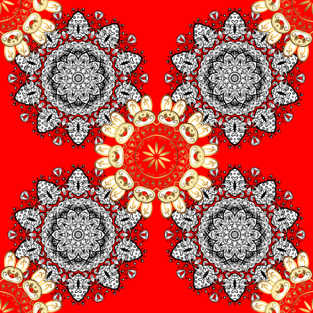 Vector golden pattern. Seamless golden textured curls in oriental style arabesques. Golden pattern on red background with white doodles. Illustration