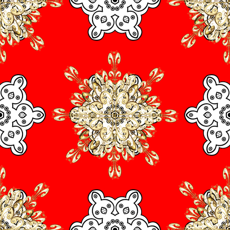 Golden pattern on red background with golden elements. Vector golden textile print. Islamic design. Seamless pattern oriental ornament. Floral tiles. Illustration