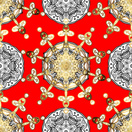 Oriental vector classic red and golden pattern with white doodles. Seamless abstract background.