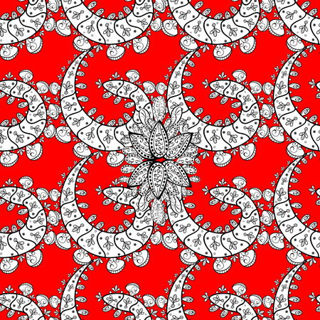Vector vintage baroque floral seamless pattern in white. Ornate decoration. Luxury, royal and Victorian concept. Golden pattern on a red background with white elements. Illustration