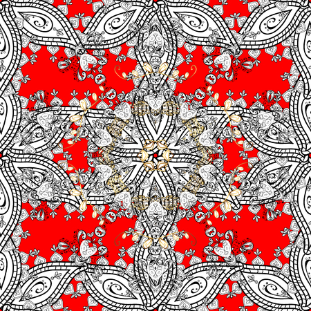 Gold floral ornament in baroque style. Antique whiteen repeatable sketch. Damask seamless repeating pattern. Golden element on red background. Illustration