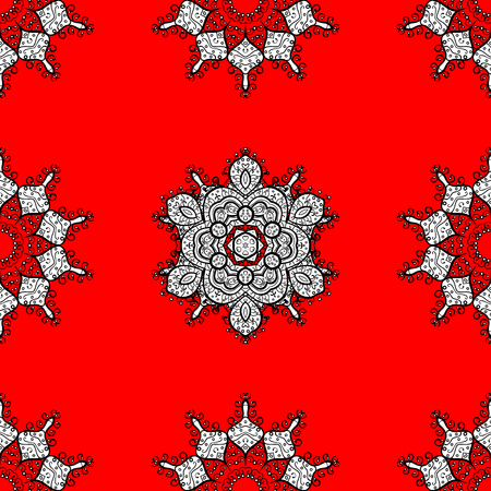 Vector white pattern. Seamless textured curls. Oriental style arabesques white pattern on a red background with white elements.