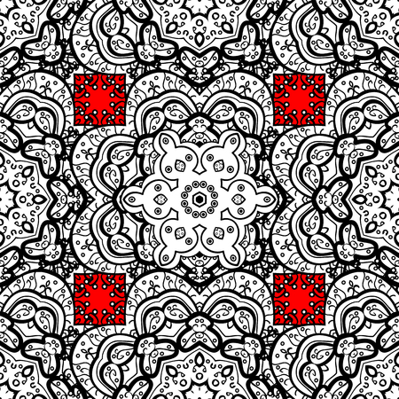 Seamless classic vector white pattern. Traditional orient ornament. Classic vintage background. Seamless pattern on red background with white elements. Vector illustration.