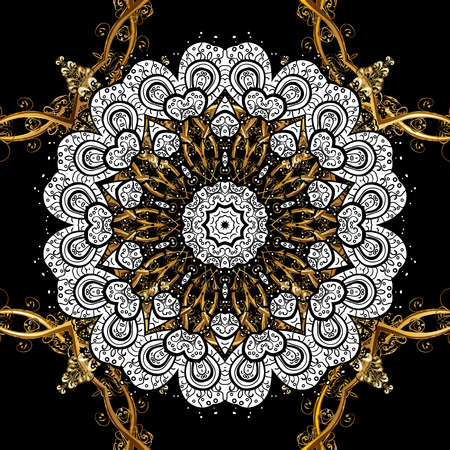 Golden element on black background. Gold Sketch on texture background. Gold black floral ornament in baroque style. Damask seamless pattern repeating background.