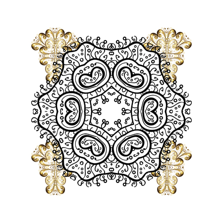 Vector illustration with golden elements. White Christmas frame with abstract snowflakes and dots on white background.