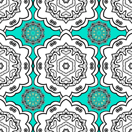 Floral ornament brocade textile pattern, glass, with floral pattern on blue background with white elements. Classic vector seamless pattern. Illustration