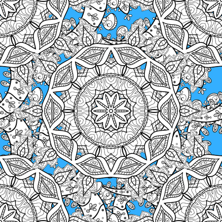 Classic vector white seamless pattern. Traditional orient ornament. Classic vintage background. Seamless pattern on blue background with white elements.