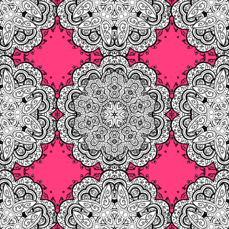 Seamless vintage pattern on pink background with white elements and with white doodles. Christmas, snowflake, new year. Illustration