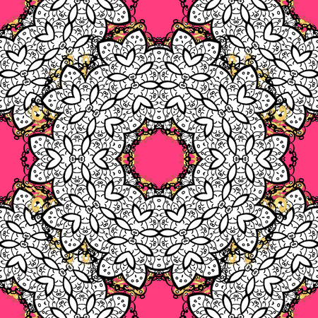 distinguished: Traditional classic vector white seamless pattern. Pink background with white elements. Seamless oriental ornament in the style of baroque.