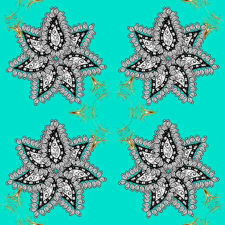 Seamless medieval floral royal pattern. Vector illustration. Good for greeting card for birthday, invitation or banner. Gold on blue background. Decorative symmetry arabesque. Illustration
