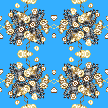 intertwined: Golden snowflake seamless pattern. Abstract sketch, wrapping decoration. Winter symbol, Merry Christmas holiday, Happy New Year 2018. Vector golden pattern on blue background with golden element.