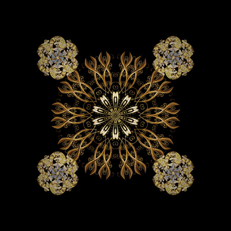 Ornamental lace tracery. With floral ornament. Vintage design element in Eastern style. Traditional arabic decor on black background. Golden ornate illustration for sketch. Stock Photo
