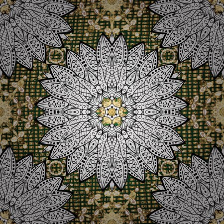 tillable: Oriental ornament in the style of baroque. Traditional classic golden pattern on green background with golden elements.