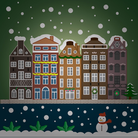 ball and chain: Nature landscape. Winter is coming. Landscape with nature and houses. Winter city with trees, cute houses, sun.