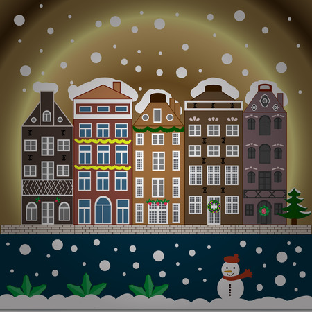 Winter house. Christmas and Happy New Year greeting card. Flat.