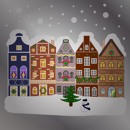 Winter village landscape. Vector illustration. Background.