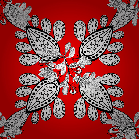 Vector white pattern. Seamless white textured curls. Oriental style arabesques. Red background with white elements. Vector illustration. Illustration