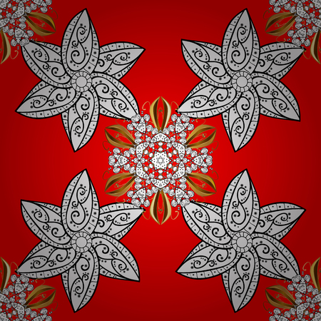 Seamless pattern oriental ornament. Vector white textile print. Floral tiles. Golden pattern on red background with white elements. Islamic design.