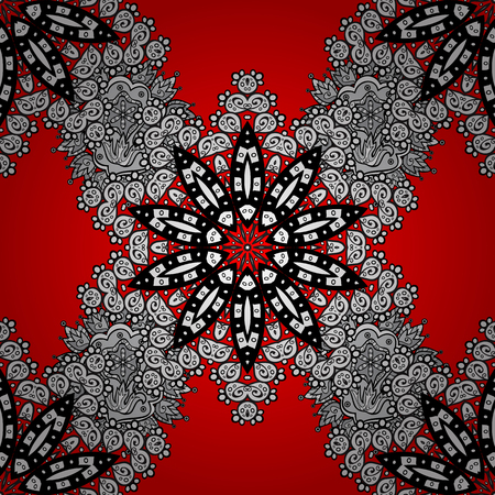 Seamless oriental ornament in the style of baroque. Traditional classic white pattern. Vector oriental ornament. Golden pattern on red background with white elements.