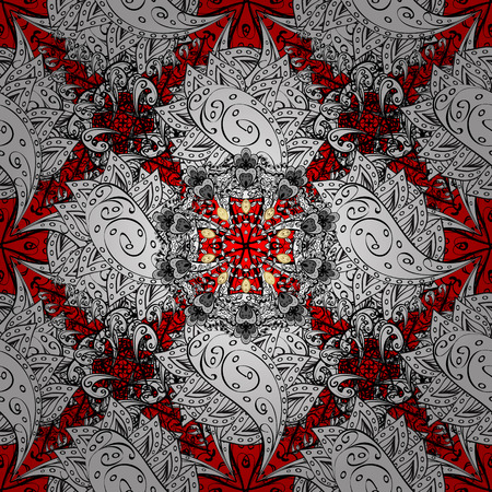Seamless oriental ornament in the style of baroque. Traditional classic white vector pattern on red background with white elements.