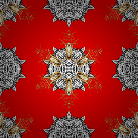 intertwined: Seamless golden pattern. Vector oriental ornament. Golden pattern with white doodles on red background with golden elements.