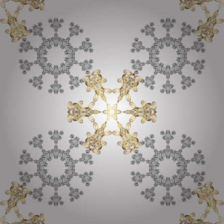 Golden snowflake seamless pattern. Abstract sketch, wrapping decoration. Winter symbol, Merry Christmas holiday, Happy New Year 2018. Vector golden pattern on white background with golden element