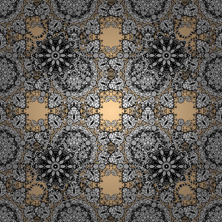 distinguished: Vector white pattern. Seamless white textured curls. Oriental style arabesques. Pattern on beige background with with white doodles. Illustration