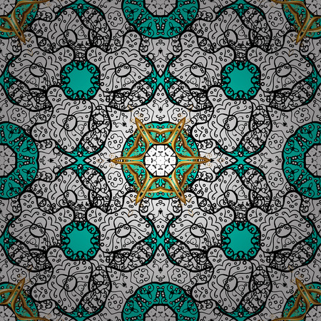 minaret: Vector seamless pattern on blue background with white elements. Damask seamless pattern for design.