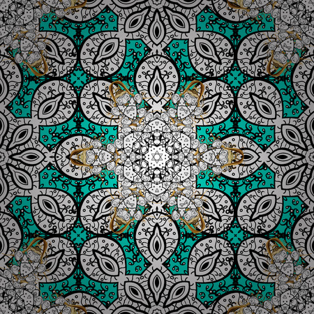 Traditional orient ornament. Classic vector white seamless pattern. Seamless pattern on blue background with white elements. Classic vintage background.