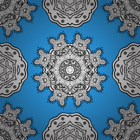 Vintage baroque floral seamless pattern in white over blue. Ornate vector decoration. Luxury, royal and Victorian concept. Golden element on blue background. Illustration
