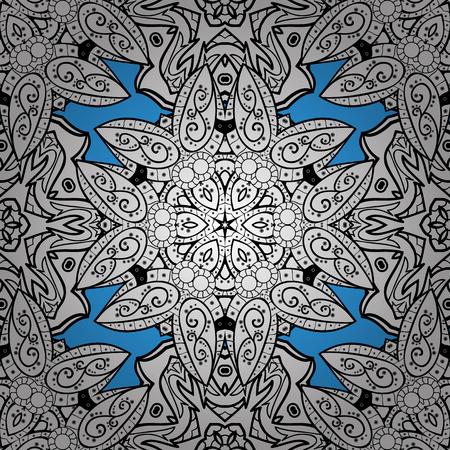 Seamless white pattern. Vector oriental ornament. Seamless pattern on blue background with white elements.