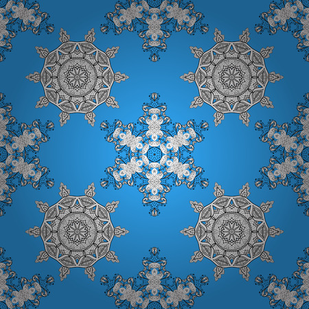 Blue vector ethnic elements seamless pattern.