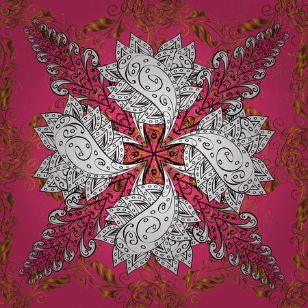 intertwined: Damask background. Golden element on a pink background. Gold floral ornament in baroque style. Golden floral. Illustration