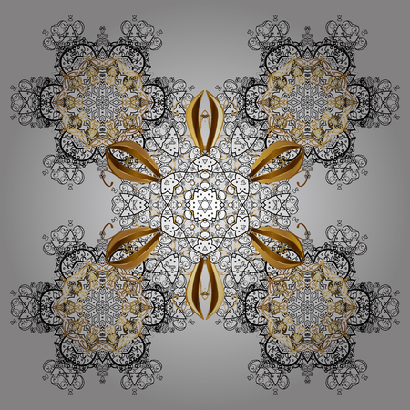 Christmas Stylized gray Snowflakes on a White Background. Winter pattern. Vector design with doodles and golden elements. Illustration