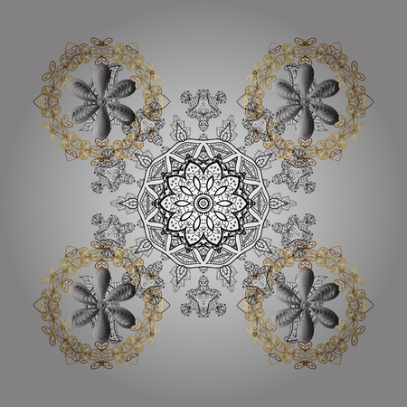 Isolated watercolor golden elements on white background. Symbol of winter. Beautiful decoration. Vector illustration with gray isolated snowflakes. Illustration