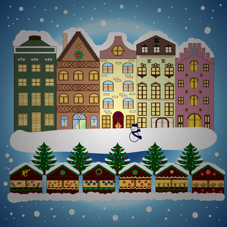 Evening city winter landscape with snow cove houses and christmas tree. Holidays Vector illustration.
