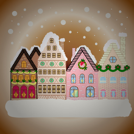 Nature landscape. Winter is coming. Landscape with nature and houses. Winter city with trees, cute houses, sun.Vector illustration., EPS 10. Vector illustration.