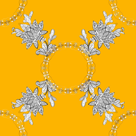 Seamless white texture curls. Oriental style arabesques. Brilliant lace, stylized flowers, paisley. Openwork delicate white pattern. Seamless pattern on yellow background with white elements. Vector. Illustration