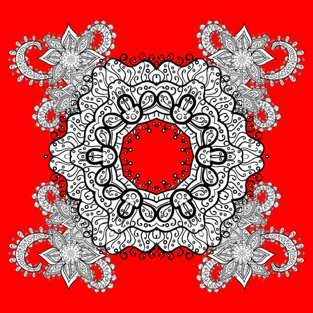 Pattern oriental ornament. Vector white textile print. Islamic design. Floral tiles. White pattern on red and white background with winter doodles elements. Illustration