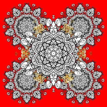 fine print: Seamless white pattern. Vector oriental ornament. Whiteen pattern on red background with white elements.
