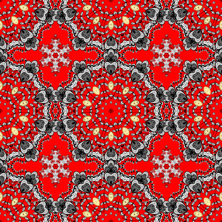 Damask seamless pattern for design. Vector seamless pattern on red background with white elements. Illustration