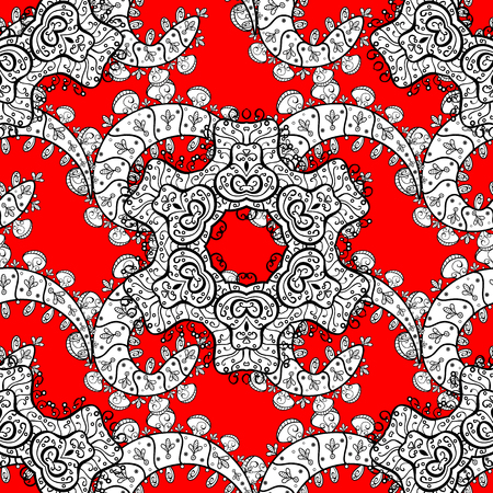 Seamless vintage pattern on red background with white elements. Christmas, snowflake, new year 2018.