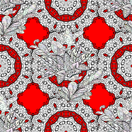 Seamless white pattern. Vector oriental ornament. Whiteen pattern on red background with white elements.