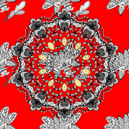 Symbol of winter, Merry Christmas holiday, Happy New Year 2018. Golden snowflake simple seamless pattern. Abstract sketch, wrapping decoration. Vector white pattern on red background.