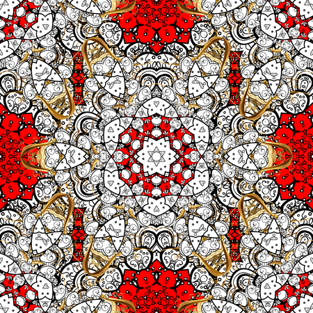 Paisleys elegant floral vector seamless pattern background sketch illustration with vintage stylish beautiful modern 3d line art white and red paisley flowers leaves and ornaments. Illustration