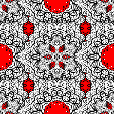 Seamless white pattern. Vector oriental ornament. Seamless pattern on red background with white elements.