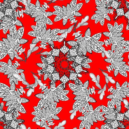 Golden elements on red background. Stylish graphic pattern. Floral pattern. Sketch baroque, damask. Seamless vector background.