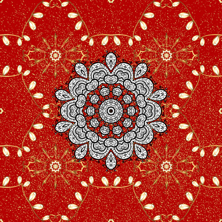 Vector illustration. Oriental vector classic red and golden pattern. Abstract background.