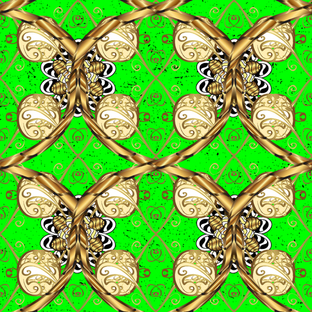 Seamless abstract background. Oriental vector classic green and golden pattern with white doodles.