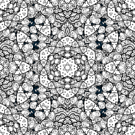 tillable: Seamless royal luxury white baroque damask vintage. Vector seamless pattern with antique floral medieval decorative, leaves and white pattern ornaments on background.